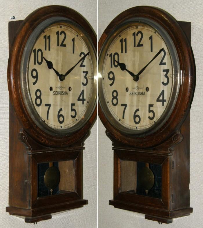 画像2: 精工舎/12インチ大木地頭丸掛け時計/完動品