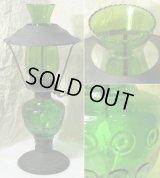 緑色ガラス・アンティーク灯油ランプ/参考品