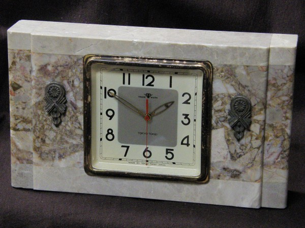 画像1: 東京時計/大理石筐体菊花レリーフ付き置き時計/動作品