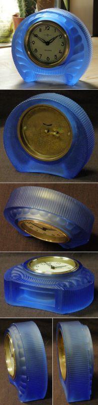 画像2: 精工舎/ブルーガラスの置き時計/動作品