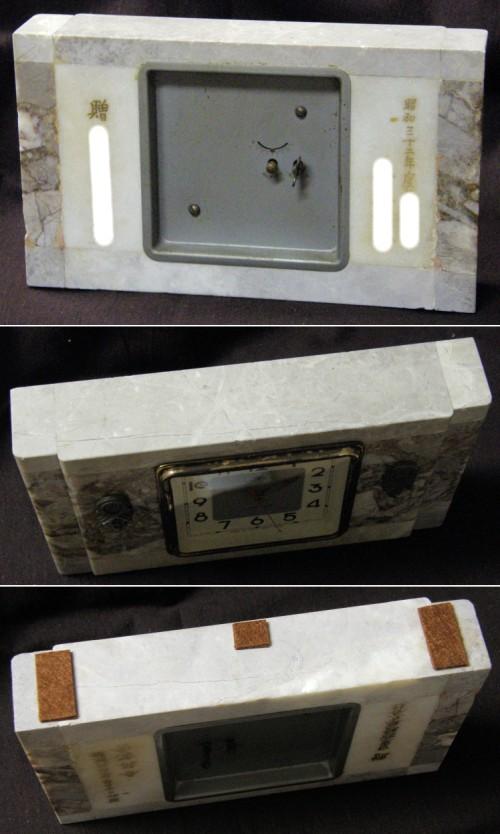 画像2: 東京時計/大理石筐体菊花レリーフ付き置き時計/動作品
