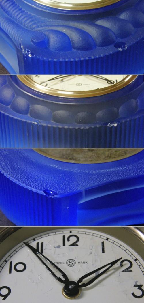 画像3: 精工舎/ブルーガラスの置き時計/動作品