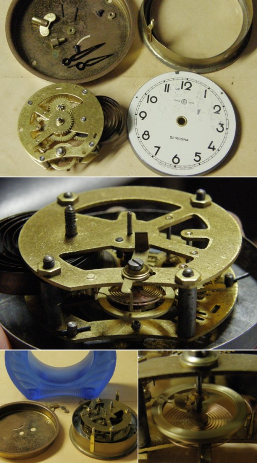 画像4: 精工舎/ブルーガラスの置き時計/動作品