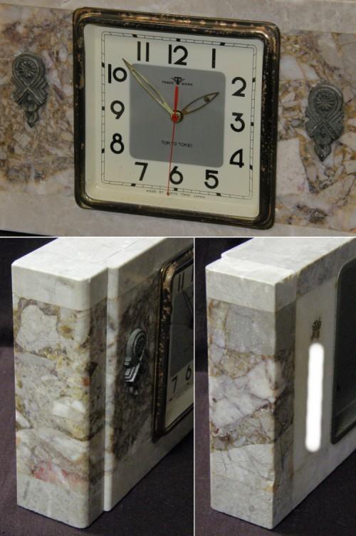 画像3: 東京時計/大理石筐体菊花レリーフ付き置き時計/動作品