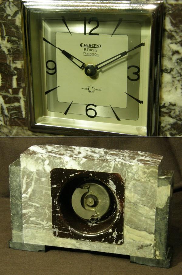 画像2: CRESCENT(石原時計店)/赤チャート石材筐体置き時計8日巻き/動作品