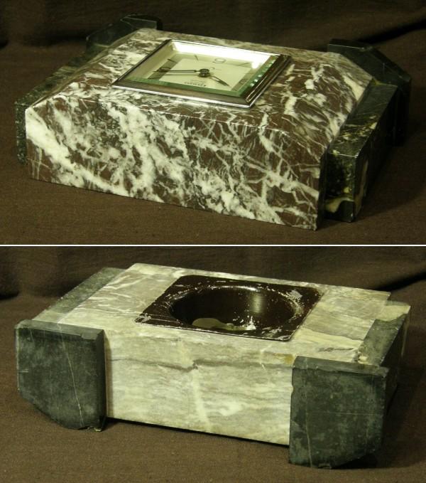 画像3: CRESCENT(石原時計店)/赤チャート石材筐体置き時計8日巻き/動作品