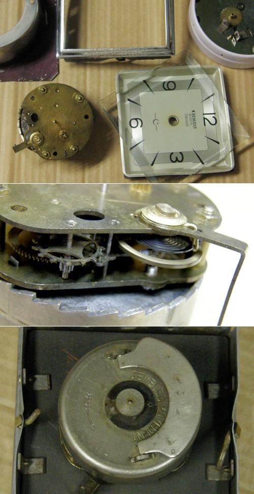 画像4: CRESCENT(石原時計店)/赤チャート石材筐体置き時計8日巻き/動作品