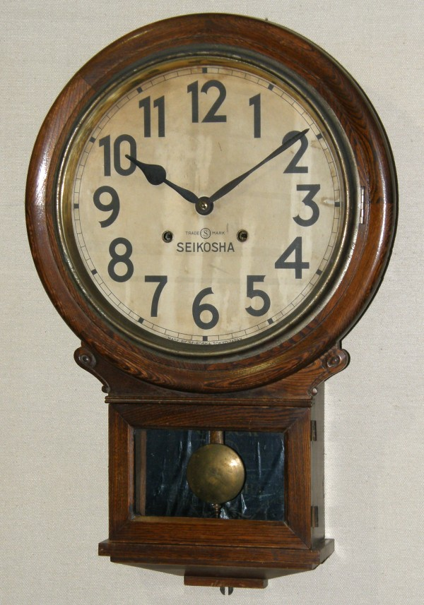 画像1: 精工舎/12インチ大木地頭丸掛け時計/完動品